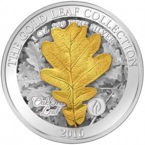 Zlatý list (3D) dubu - umělecký mincovní skvost