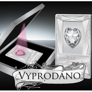 Luxusní mince s krystalem Swarovski ve tvaru srdce s růžovým osvětlením