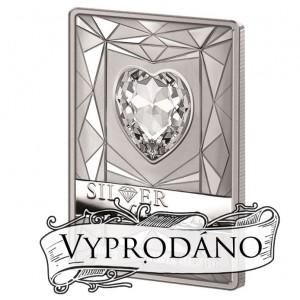 Luxusní mince s krystalem Swarovski ve tvaru srdce s modrým osvětlením