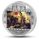 Svoboda vede lid na barikády od Eugene Delacroix - atraktivní stříbrná mince s krystaly Swarovski