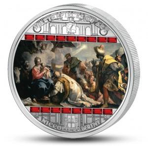Klanění tři králů od Niccolo Bambiniho - atraktivní stříbrná mince s krystaly Swarovski