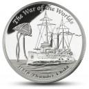 Literární legenda Válka světů od H.G. Wellse na atraktivní stříbrné minci – vyobrazení lodi HMS Thunder child