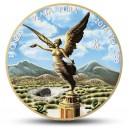 Atraktivní stříbná mince s úlomkem meteoritu Allende zušlechtěná ryzím zlatem