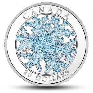 Sněhová vločka - mince, která se zatřpytí u Vás doma (speciální modrá sklovina)