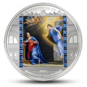 Zvěstování od Philippa de Champaigne - atraktivní stříbrná mince s krystaly Swarovski