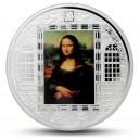 Mona Lisa od Leonarda da Vinciho - atraktivní stříbrná mince s krystaly Swarovski