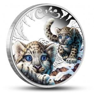 Mláďata sněžného leoparda na atraktivní stříbrné minci