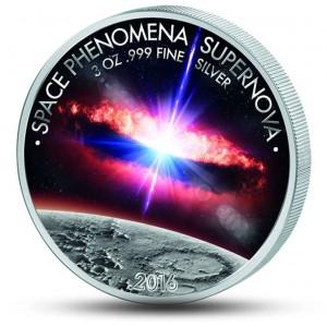 Supernova - fascinující vesmírný úkaz na atraktivní kolorované minci