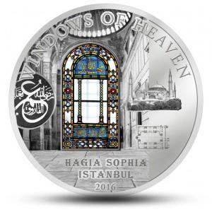 """Hagia Sofia(chrám boží moudrosti) v Istanbulu z atraktivní stříbrná mince s populární série """"Nebeská okna"""""""