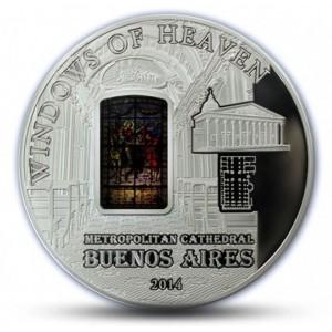 """Metropolitní katedrála v  Bueonos Aires - atraktivní stříbrná mince z populární série """"Nebeská okna"""""""