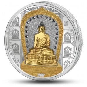 Buddha Shakyamuni - první buddha - mistrovský mincovní skvost s krystaly Swarovski