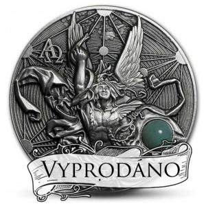 Archanděl Metatron vládce andělů na atraktivní minci s vysokým reliéfem a drahokamem
