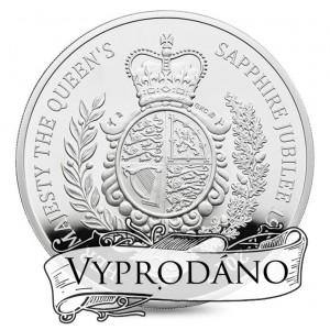 Safírové jubileum královny Alžběty II. na atraktivní stříbrné minci (5oz)