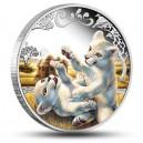 Mláďata lva bílého na atraktivní stříbrné minci