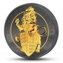 Královský korunovaný lev - symbol Velké Británie (piedfort) - zušlechtění ryzím zlatem a černým rhodiem