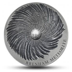 Mince s úlomkem Brenhamského meteoritu - limitovaná emise s hlubokým reliéfem