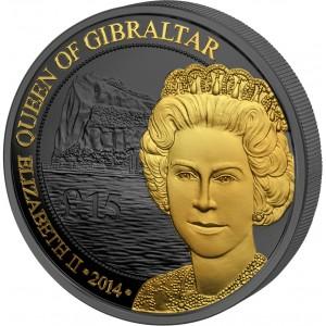 Královna Alžběta II. vládkyně Gibraltaru na stříbrné mincí zušlechtěné černým rutheniem a ryzím zlatem