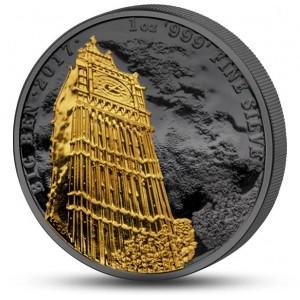 2)Věhlasný Big Ben na stříbrné mincí zušlechtěné černým rutheniem a ryzím zlatem