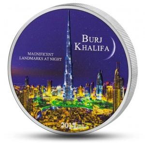 Nejvyšší mrakodrap světa Burdž Chalífa s ultrafialovým osvětlením - mincovní skvost