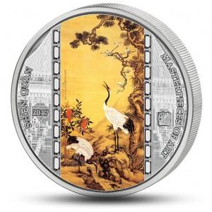 """Shen Quan a jeho věhlasné dílo """"Borovice, švestky a jeřábi popelaví"""" - atraktivní stříbrná mince s krystaly Swarovski"""