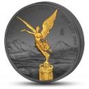 Věhlasná Libertad na stříbrné mincí zušlechtěné černým rutheniem a ryzím zlatem