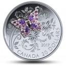 Originální dárek! Mincovní skvost osázený drahokamy s umělecky ztvárněným motýlem - ruční dohotovení