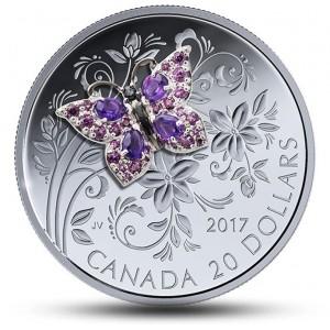 Mincovní skvost osázený drahokamy s umělecky ztvárněným motýlem - ruční dohotovení