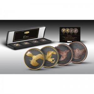 Fascinujíci dravci na stříbrných mincích zušlechtěných černým rutheniem a ryzím zlatem (žluté 999/1000 a růžové 750/1000)