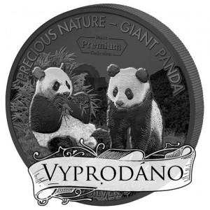 Panda Velká - poprvé v historii numizmatiky mince zušlechtěná  vzácným bílým rhodiem a černým palladiem