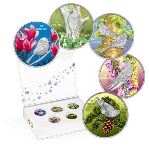 Akční cena! Fascinující zpěvní ptáci Kanady - atraktivní stříbrná sada s hrajícím boxem
