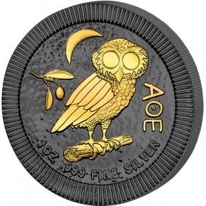 Athénská sova na atraktivní minci zušlechtěné černým rutheniem a ryzím zlatem