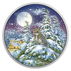 Fascinující zimní scenérie s výrem virginským na originální minci, která se rozzáří přímo u Vás doma ve tmě