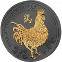 Rok kohouta na stříbrné mincí zušlechtěné černým rutheniem a ryzím zlatem