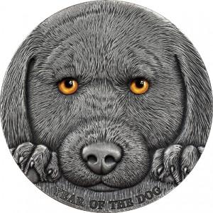 Rok psa na precizně detailní stříbrné minci s vysokým reliéfem a speciálním UV tiskem (oči psa)