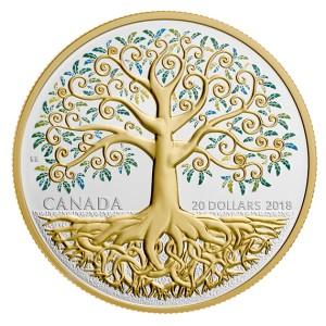 Strom života - parciálně kolorováný a ryzím zlatem  zušlechtěný mincovní skvost