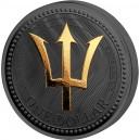Věhlasný Poseidónův trojzubec na stříbrné mincí zušlechtěné černým rutheniem a ryzím zlatem