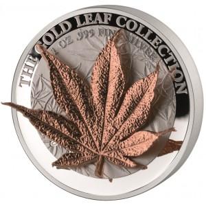 Zlatý list (3D) japonského javoru - umělecký mincovní skvost