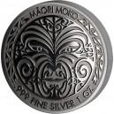 Maori Moko - atraktivní stříbrná mince zušlechtěna černým rhodiem