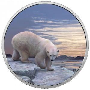 Medvěd lední v severní Polární záři na atraktivní minci, která se rozzáří přímo u Vás doma ve tmě