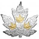 Fascinující vyobrazení kanadského javorového listu - parciální zušlechtění ryzím zlatem