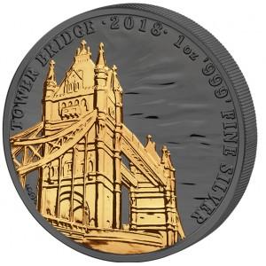 Věhlasný Tower bridge na stříbrné mincí zušlechtěné černým rutheniem a ryzím zlatem