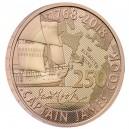 250. výročí první plavby věhlasného kapitána Jamese Cooka na atrkativní zlaté minci
