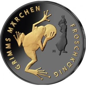 Žabí král od bratří Grimmů na stříbrné mincí zušlechtěné černým rutheniem a ryzím zlatem