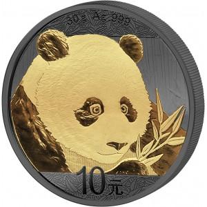 Čínská panda na stříbrné mincí zušlechtěné černým rutheniem a ryzím zlatem