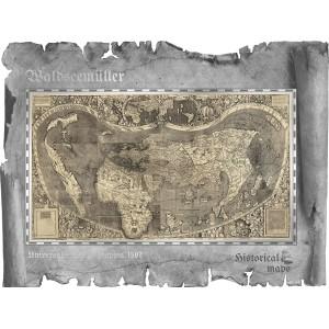Věhlasná historická Waldseemüllerova mapa světa - atraktivní stříbrný skvost