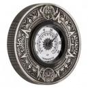 Aztécký kalendář s vloženým kruhovým teploměrem - orignální mincovní exemplář