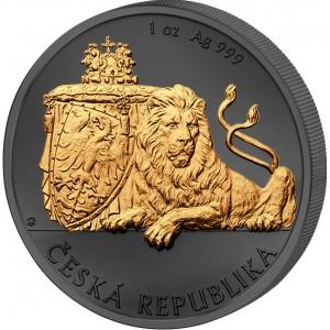 Český lev na stříbrné mincí zušlechtěné černým rutheniem a ryzím zlatem