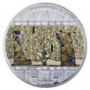 Strom života od Gustave Klimta - atraktivní stříbrná mince s krystaly Swarovski