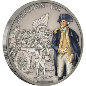Věhlasná bitva u Yorktownu na atraktivní kolorované minci