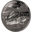 Krokodýl - exkluzivní stříbrná mince zušlechtěná vzácným bílým rhodiem a černým palladiem